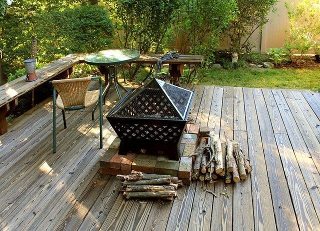 Fire Pit on Deck for Yard Imrpovements