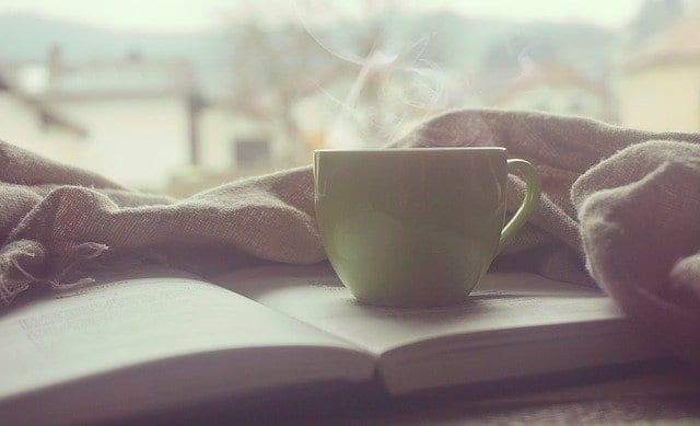 self-care with a good book and cup of coffee