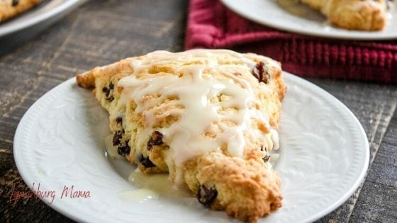 Plate with an orange cranberry scone