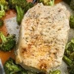 Sheet Pan Boneless Pork Chops with Garlic Broccoli