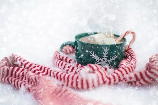 Cup of Hot Chocolate with a Peppermint Stripe Scarf
